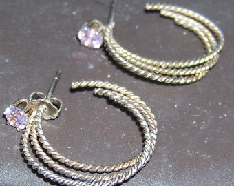 Vintage Sterling Silver Hoops Pierced Earrings / Twisted Rope Triple Hoop and Pink Simulated Diamond