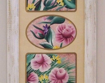 Handpainted Roses and Blossoms on Canvas and Framed in a Cottage Chic Frame