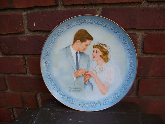 """Vintage 1983 Norman Rockwell's Collector Plate """"With This Ring"""" / Wedding or Anniversary Gift"""