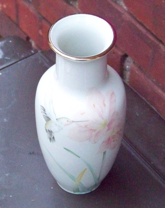 Vintage Porcelain Vase from Crowning Touch Hummingbird and Floral Decorative Vase
