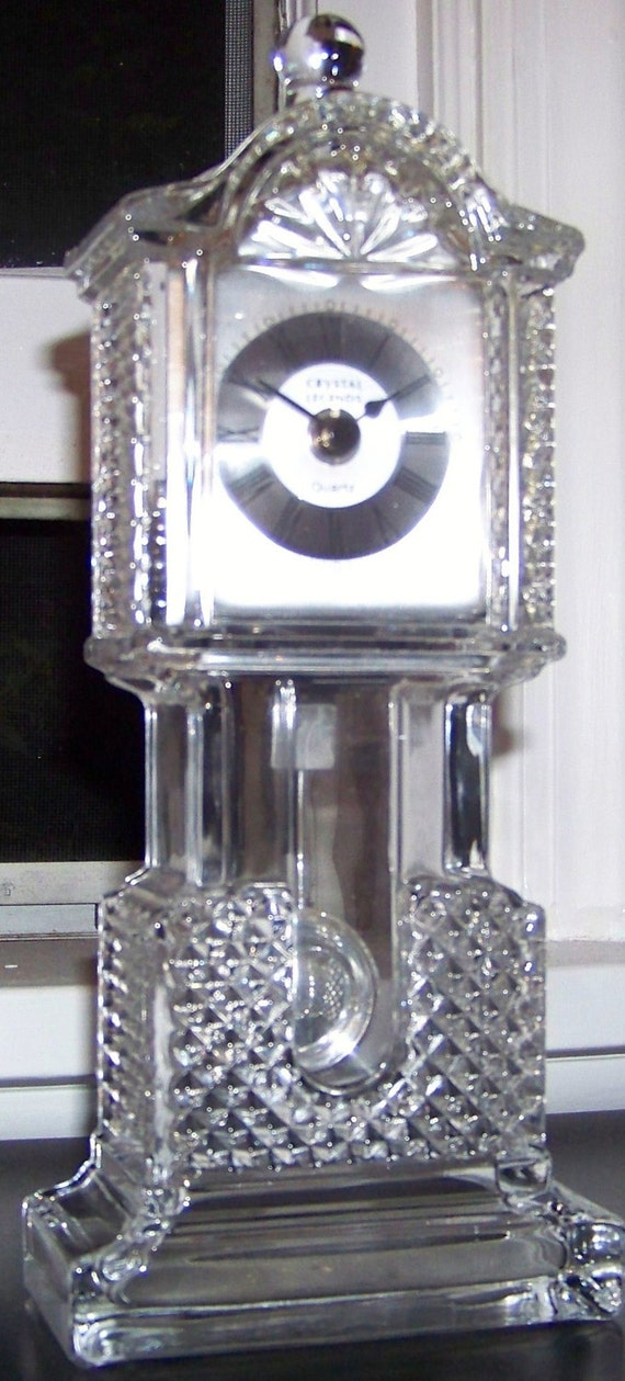 Vintage Lead Crystal Grandfather Style Clock By