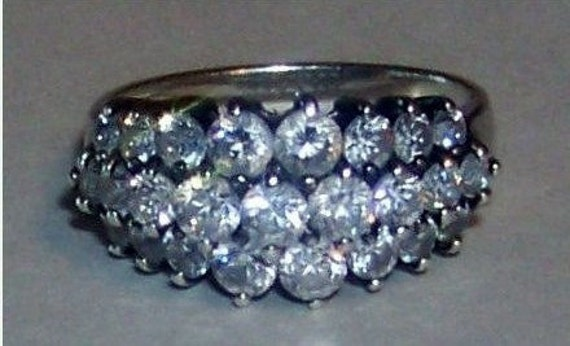 Vintage Sterling Silver Cocktail / Anniversary Three Row Band Ring with Clear CZ Stones