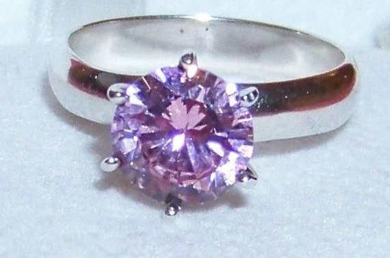 Vintage Sterling Silver Ring with Simulated Pink Diamond / Solitaire Engagement Ring