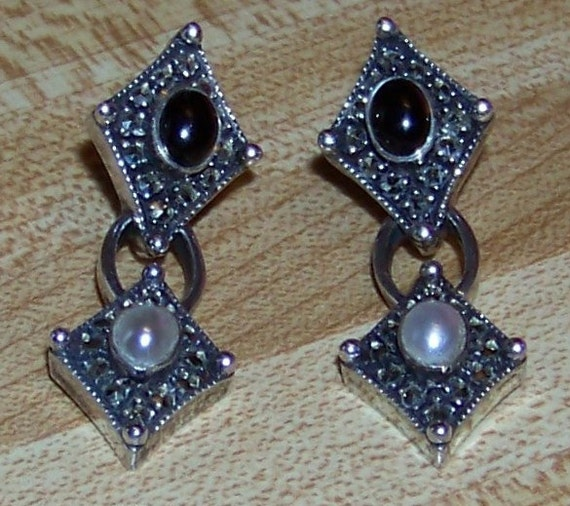 Vintage Judith Jack Reflections Collection Sterling Silver Black Onyx and Faux Pearl Marcasite Art Deco Pierced Earrings