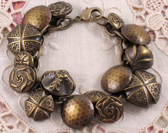 Vintage Style Button Bracelet with Floral Designs - Antique Gold - Gifts Under 20