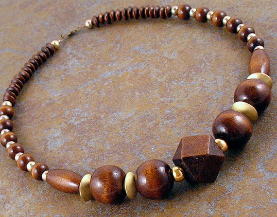 Deep Brown Wooden Bead Necklace with Gold Accent Beads - Holiday - Gifts under 20