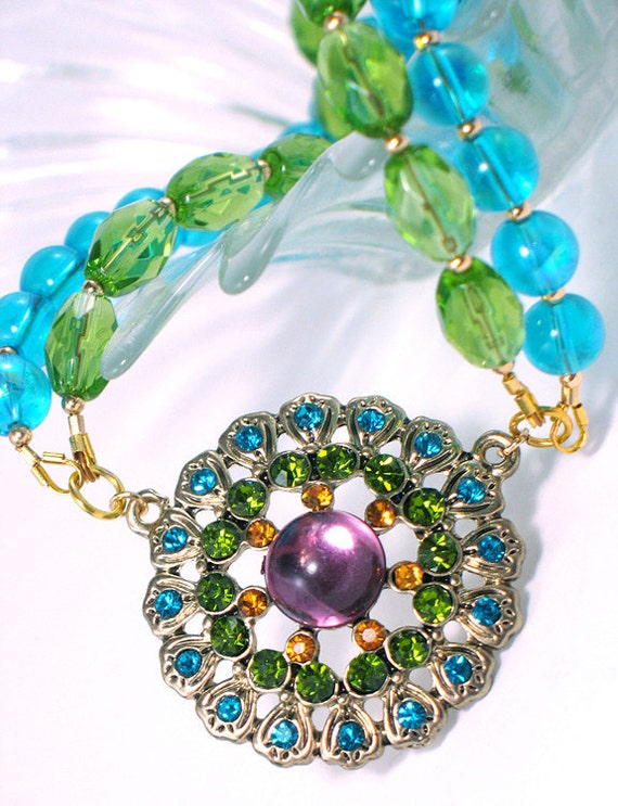 FREE SHIPPING - Crystal Floral Pendant, Gold with Aqua, Green, Amber and Purple Crystals, Vintage Style, Neon, Spring, Summer