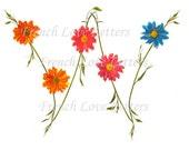 """Monogram """"W"""" Daisy Design Letter Art 8""""x10"""" Custom banner garland alphabet letters"""