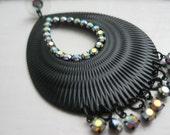 Swarovski crystal earrings flamenco bohemian tribal black hoops