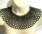 Huge beaded collar necklace of black beads detachable collar