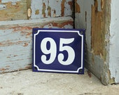 Enamel House Number Rustic Tin Blue White French Farmhouse Shabby Chic