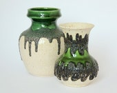 Fat Lava Vase West German Pottery Green Pair Bay Keramik 1960s