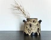 Fat Lava German Pottery Vase West German Ceramic Black Yellow Ruscha 1970s