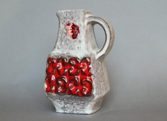Fat Lava Vase Ceramic West German Pottery Midcentury Bay Keramik 1960s Red White