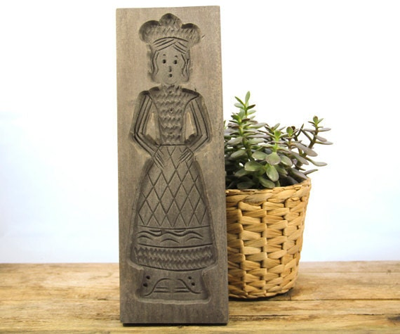 Wooden Cookie Mold Traditional Female Figure Reproduction