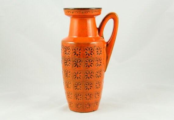 West German Vase Pottery Ceramic Retro 1960s Orange Scheurich