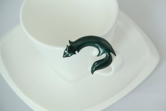 Vintage Fox Brooch Green Diamante Pin