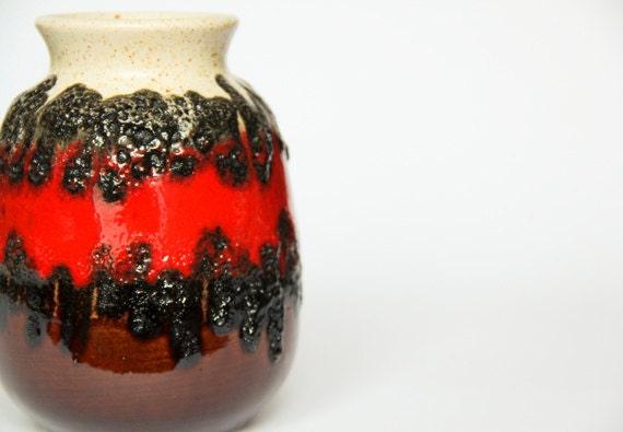 Fat Lava Vase West German Pottery Ceramic Red Brown Black Bay Keramik 1970s