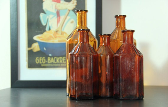Vintage Apothecary Bottles Amber Glass