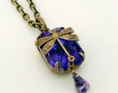 Blue Glass Jewel with Dragonfly Necklace .. glass jewel pendent, dragonfly, blue glass drop, vintage necklace