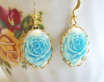 Blue Rose Earrings ... blue flower earrings, wedding earrings, cottage chic, romantic