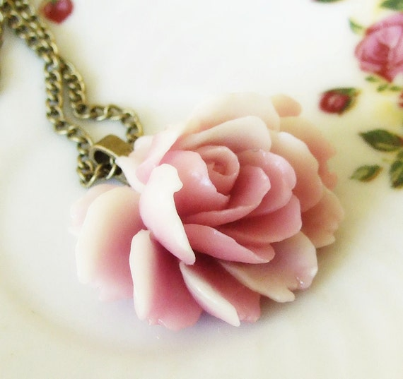 Vintage Orchid Rose Necklace ... large two tone vintage rose cabochon necklace, cabbage rose necklace