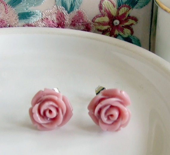 Dusky Pink Rose Earrings