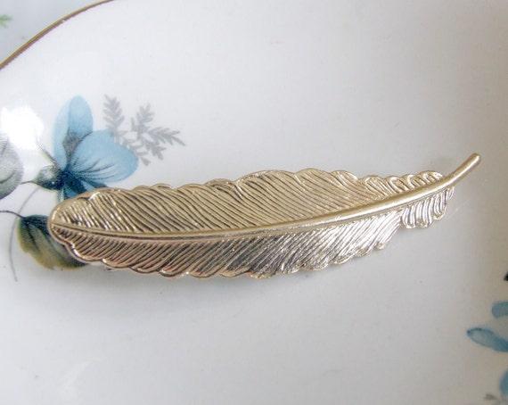 Brass Leaf / Feather  Detailed Barette .. hair accessories