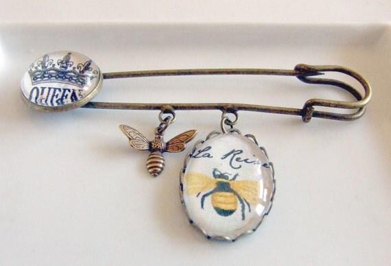 Queen Bee Kilt Pin .. bumble bee, bee brooch, vintage style brooch, kilt pin. bee jewellery