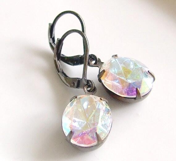 Crystal Glass Earrings .. crystal glass drop earrings, estate, drop earrings, jewellery, vintage style