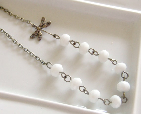 Dragonfly White Beaded Necklace .. dragonfly charm necklace with white faceted rondelle beads
