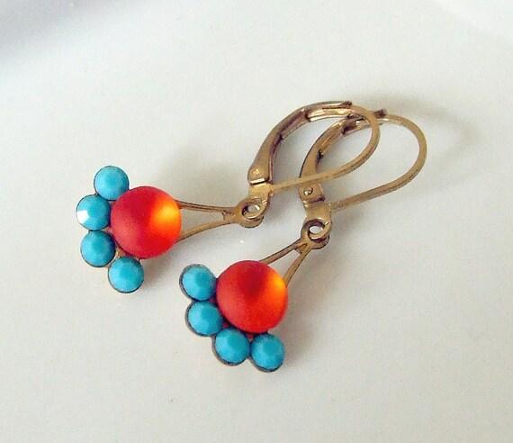 Tangerine Dreams Earrings .. vintage glass earrings, turquoise and orange glass earrings