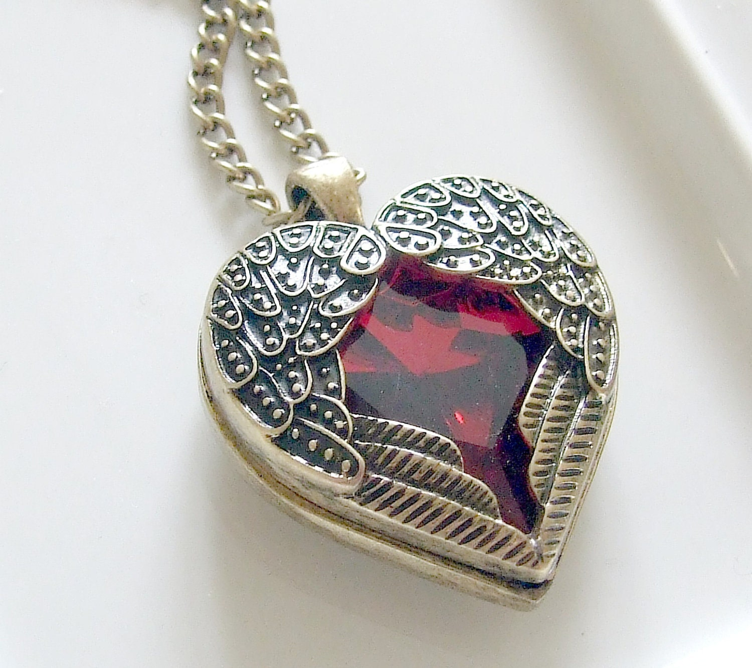 Angel Wing Heart Necklace With Ruby Red Glass Jewel Heart