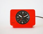 Vintage Bright Orange Red Alarm Clock from Germany. Krups Comfortime 3. Made in 1970s. Retro Mod.