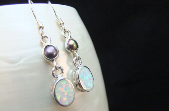 White Opal Falls Sterling Silver Earrings
