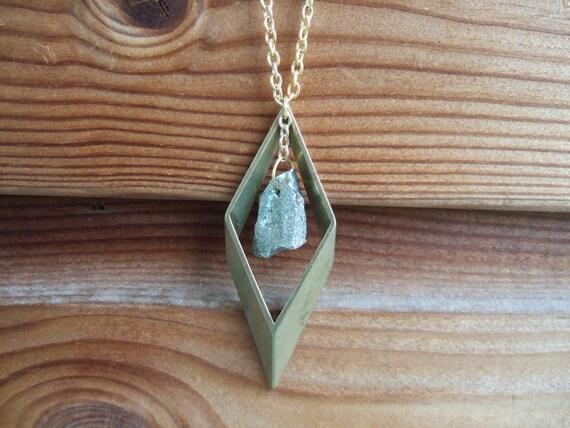Sale /  Brass Rhombus & Raw Pyrite Necklace