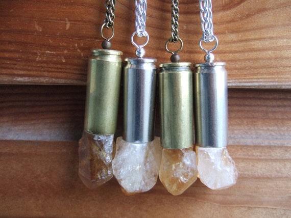 XL Raw Citrine Crystal Bullet Necklace