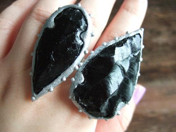 Studded Obsidian Arrowhead Ring