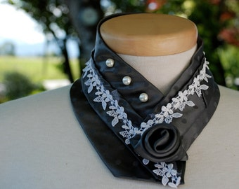 Pewter Polka Dot Floral Lace and Pearls Collar