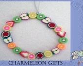 Fruit Stretchy Elastic Bracelet- variety of 21 fruit themed beads