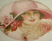 Lady in Pink magnet- 2 inch circular upcycled household magnet- Victorian Lady