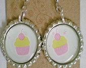 Pink cupcake Earrings- 1 pair handmade bottle cap earrings with backing and stoppers