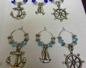 Down By the Sea Wine Glass Charms...Markers.  Wine Bottle Labels.  Set of 6 charms.