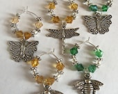 Bumble Bees and Butterflies Wine Glass Charm Markers.  Wine Bottle Tag.  Set of 6 Markers.