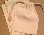 10 Cotton natural muslin fabric drawstring bags 4x6 inches