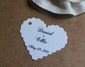 Personalized romantic small white scalloped heart wedding decoration favors diy wedding tags
