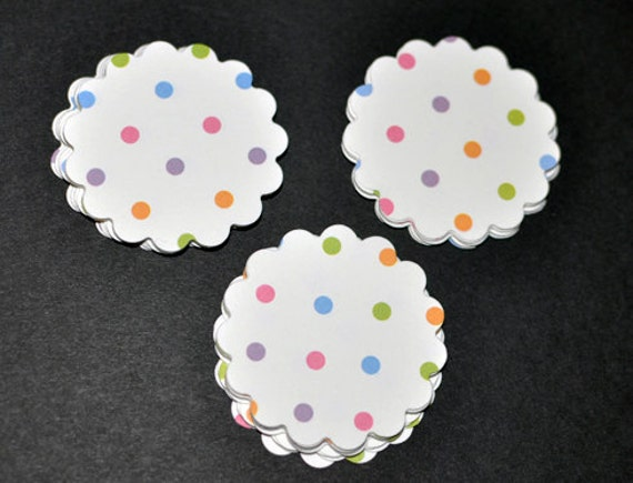 25 scallop circles multi dots paper cardstock punches die cuts  2 inches