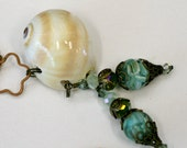 Beautiful Shark Eye Moon Shell Pendant with two Antique Mixed Aqua Shell and Glass Beads