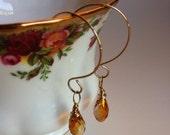 Copper Crystal Briolette & Gold Loop Earrings