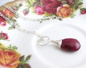 Wire Wrapped Ruby Silver Necklace